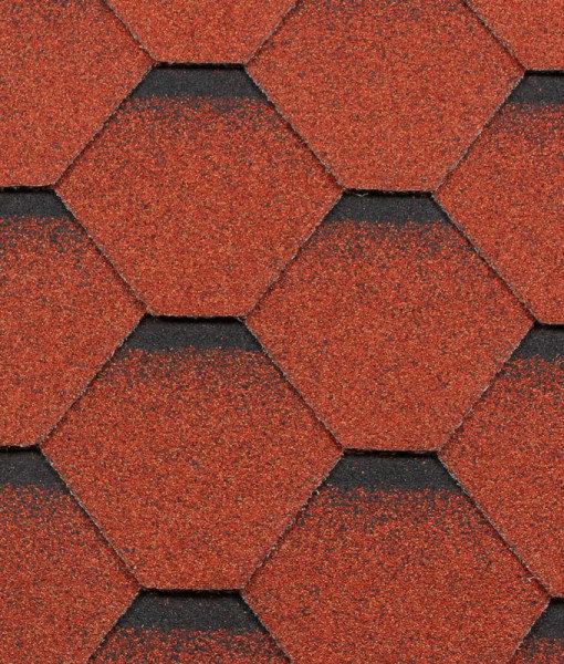 Черепица гибкая RoofShield КЛАССИК Стандарт кирпично-красный с оттенением