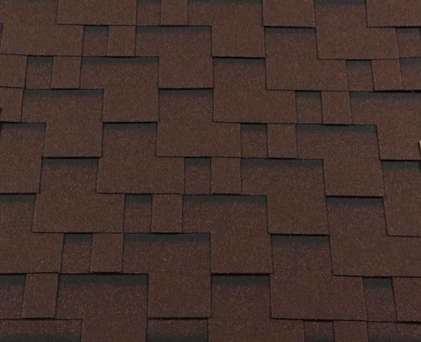 Черепица гибкая RoofShield ПРЕМИУМ Модерн коричневый с оттенением