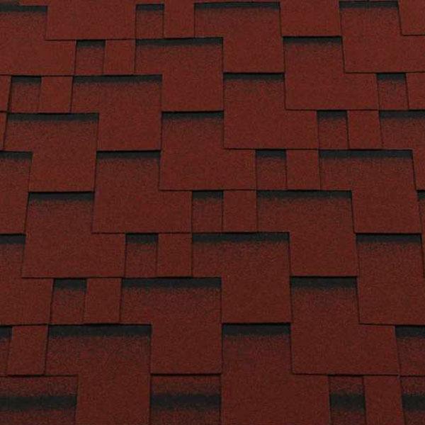 Черепица гибкая RoofShield ПРЕМИУМ Модерн красный с оттенением