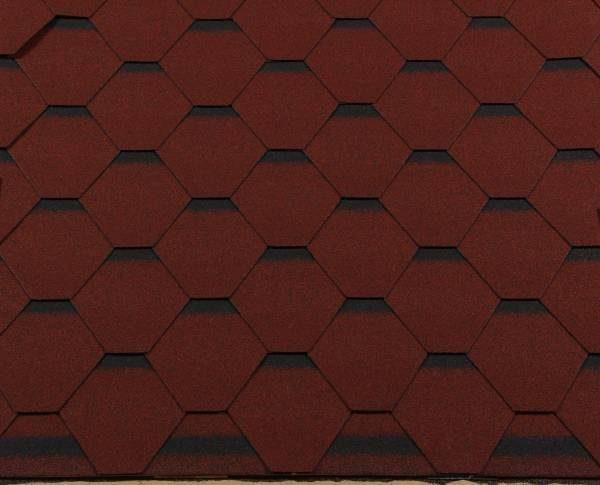 Черепица гибкая RoofShield ПРЕМИУМ Стандарт красный с оттенением